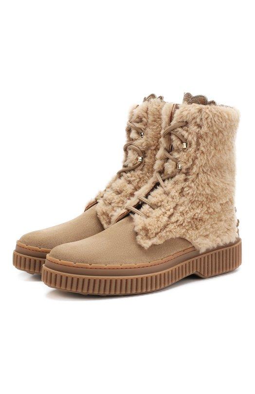 Купить Замшевые ботинки с внутренней меховой отделкой Tod's, XXW39A0AN60K70, Италия, Бежевый, Мех/овчина/: 60%; Кожа: 40%; Низ-кожа: 100%; Отделка мех нат.: 100%; Подкладка-кожа: 100%; Подошва-резина: 100%;