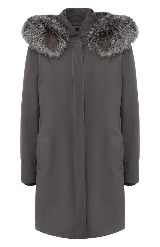 Утепленная куртка с меховой отделкой Loro Piana