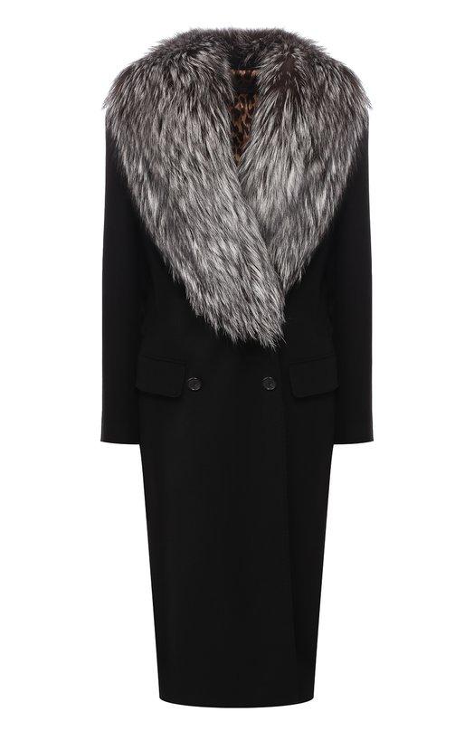 Шерстяное пальто с воротником из меха лисы Dolce & Gabbana Dolce & Gabbana