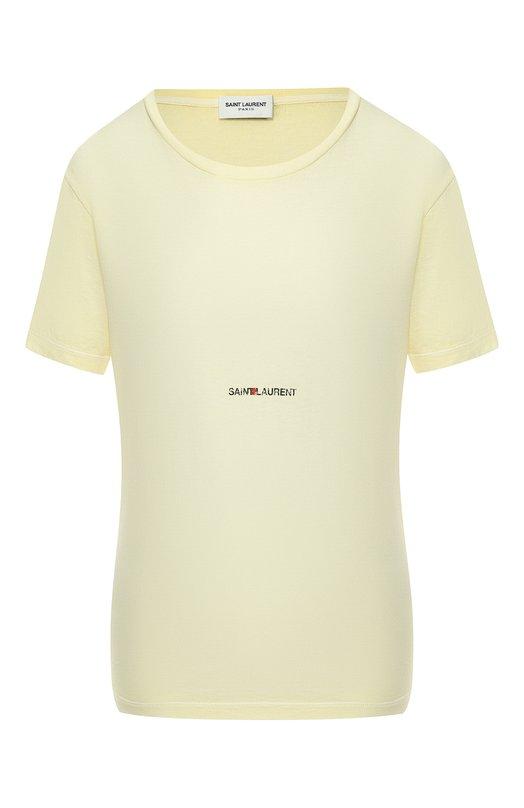 Купить Хлопковая футболка Saint Laurent, 548037/YBDV2, Италия, Желтый, Хлопок: 100%;