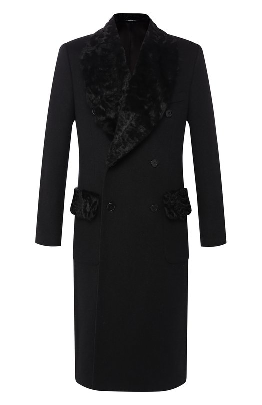 Кашемировое пальто с меховой отделкой воротника Dolce & Gabbana