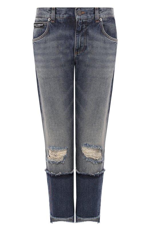 Купить Укороченные джинсы прямого кроя с потертостями Dolce & Gabbana, FTA0PZ/G8V47, Италия, Голубой, Хлопок: 100%;