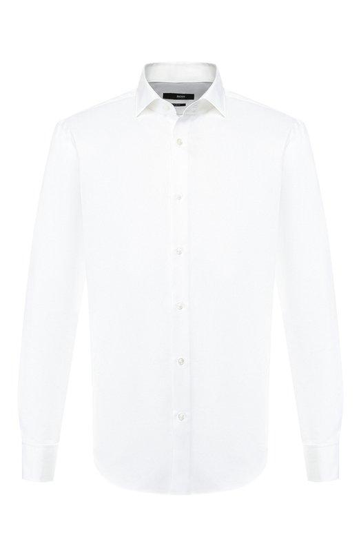 Купить Хлопковая сорочка с воротником кент BOSS, 50399683, Турция, Белый, Хлопок: 100%;