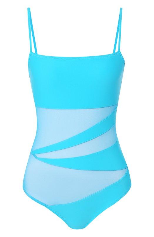 Купить Слитный купальник с полупрозрачными вставками NATAYAKIM, NY-013, Италия, Бирюзовый, Полиамид: 90%; Эластан: 10%;