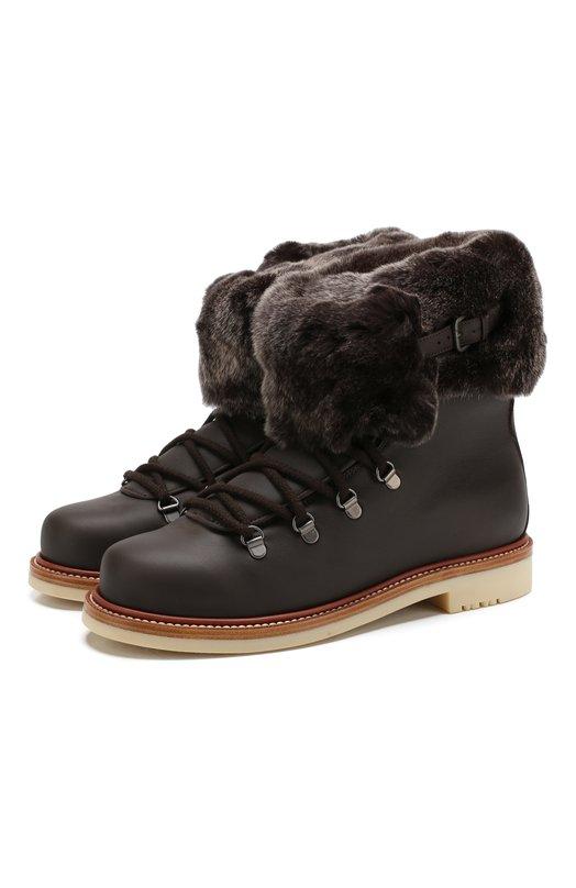 Купить Кожаные ботинки Perm Walk с внутренней меховой отделкой Loro Piana, FAI3419, Италия, Темно-коричневый, Подошва-резина: 100%; Отделка мех./кролик/: 100%; Отделка мех/орилаг/: 100%; Подкладка-текстиль: 100%; Кожа: 100%; Низ-текстиль: 100%; Низ-м