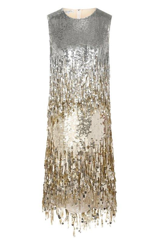 Купить Шелковое платье с пайетками Oscar de la Renta, 18PE622ESG, США, Золотой, Шелк: 92%; Лайкра: 8%;