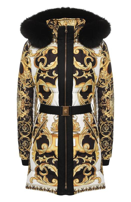 Пуховик с поясом и принтом Versace Versace