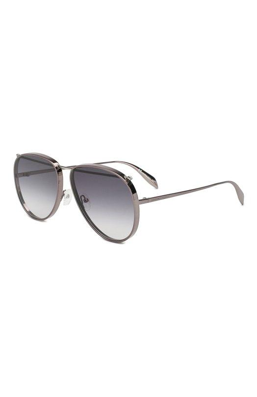 Купить Солнцезащитные очки Alexander McQueen, AM0170 003, Италия, Серый, Оправа-металл; Линзы-поликарбонат;