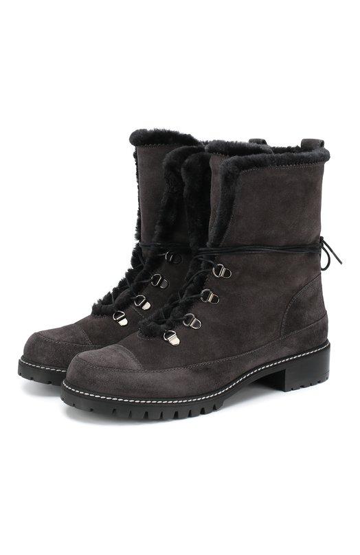 Купить Замшевые ботинки Luge с внутренней отделкой из овчины Stuart Weitzman, LUGE/ANS0NIA, Испания, Серый, Кожа: 100%; Подкладка-мех/овчина/: 100%; Подошва-резина: 100%;