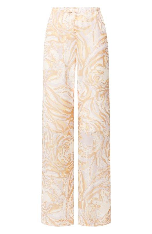 Купить Шелковые брюки с принтом See by Chloé, CHS19SPA08022, Португалия, Коричневый, Шелк: 100%;