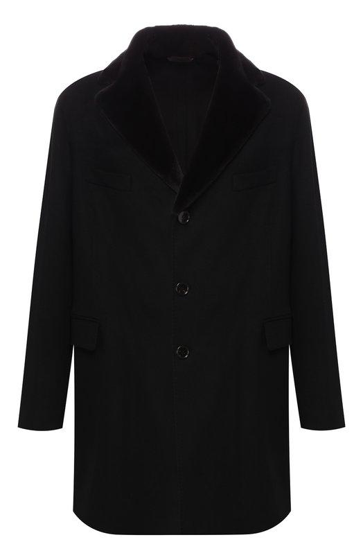 Кашемировое пальто с норковым воротником Andrea Campagna