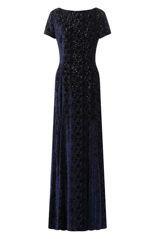 Купить Платье-макси из смеси шелка и вискозы Escada, 5027876, Румыния, Темно-синий, Вискоза: 67%; Шелк: 33%;