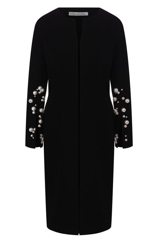 Шерстяное пальто с декоративной отделкой Oscar de la Renta Oscar de la Renta