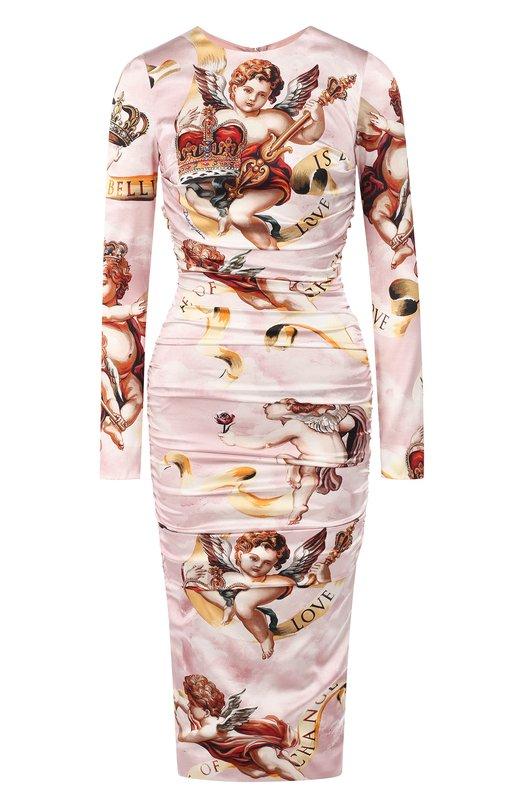 Купить Шелковое платье с принтом Dolce & Gabbana, F6B8GT/FSRJR, Италия, Светло-розовый, Шелк: 96%; Эластан: 4%;