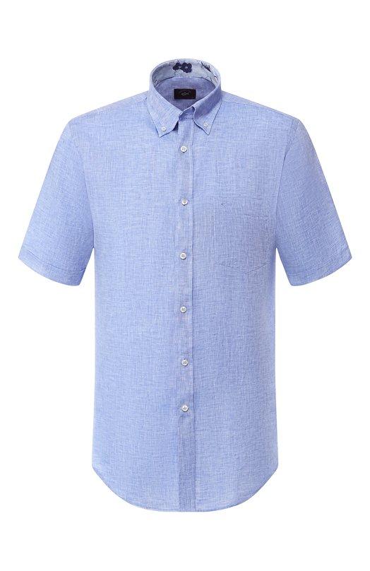 Купить Льняная рубашка с воротником button down Paul&Shark, E19P3193, Италия, Голубой, Лен: 100%;