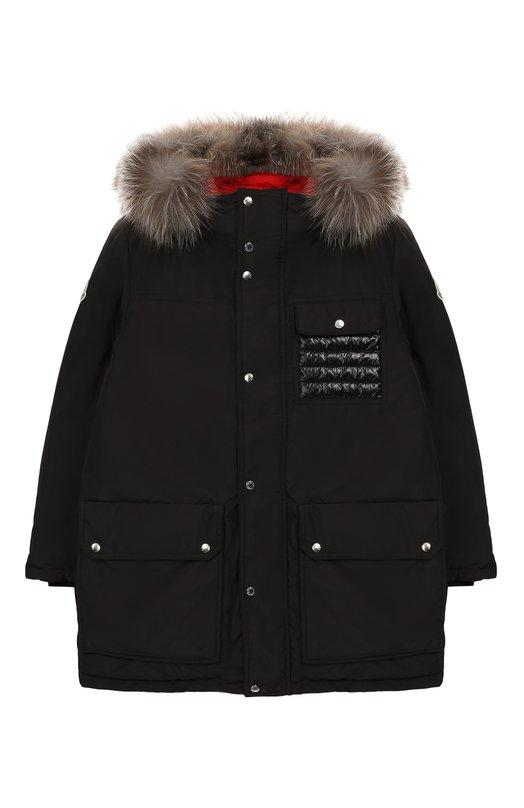 Купить Пуховая куртка с меховой отделкой Moncler Enfant, D2-954-42349-25-57244/12-14A, Молдова, Черный, Наполнитель-гусиный пух: 90%; Полиэстер: 100%; Подкладка-полиамид: 100%; Отделка капюшона-мех/песец/: 100%; Наполнитель-гусиное перо: 10%;