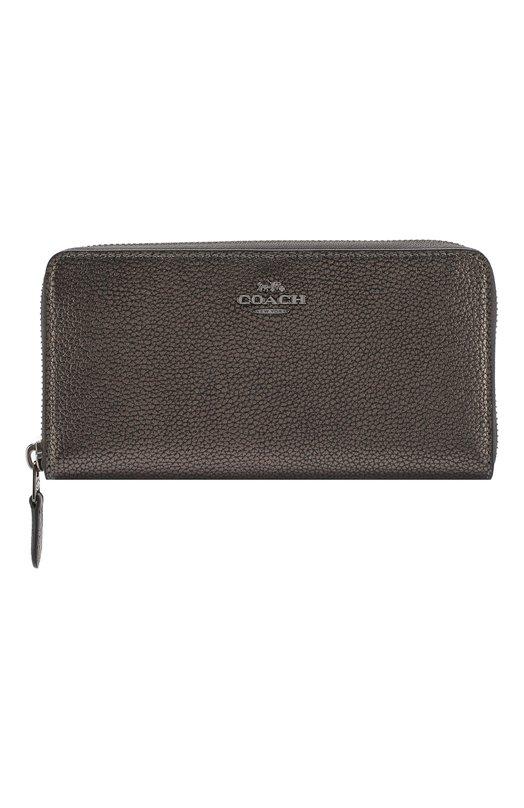 Кожаный кошелек на молнии Coach, 23554, Вьетнам, Серебряный, Кожа натуральная: 100%;  - купить