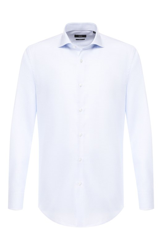Купить Хлопковая сорочка с воротником акула BOSS, 50399334, Турция, Голубой, Хлопок: 100%;