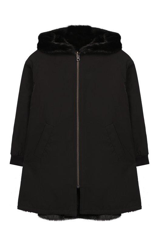 Двустороннее пальто с мехом Yves Salomon Enfant