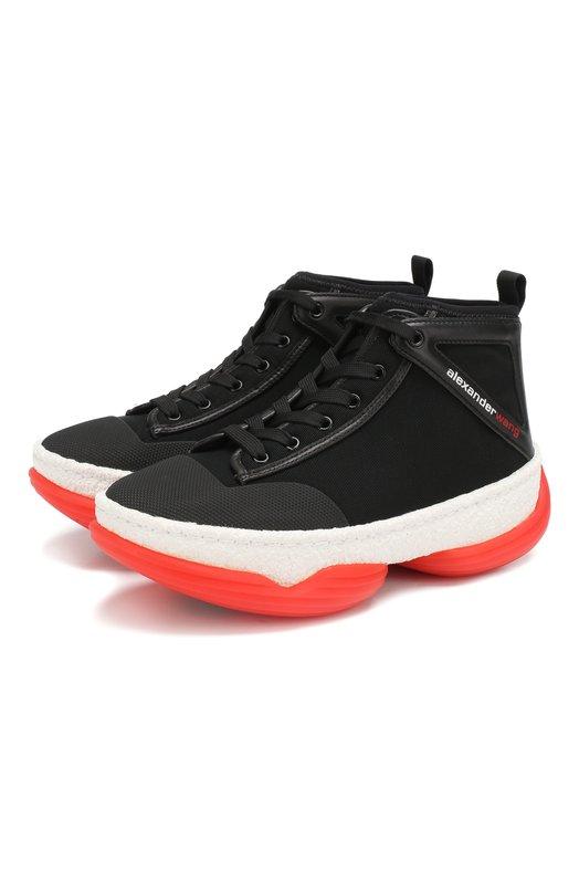 Купить Текстильные кроссовки A1 Alexander Wang, 3049N0038M, Китай, Черный, Текстиль: 77%; Кожа: 23%; Низ-кожа: 100%; Подкладка-текстиль: 100%; Подошва-резина: 100%;