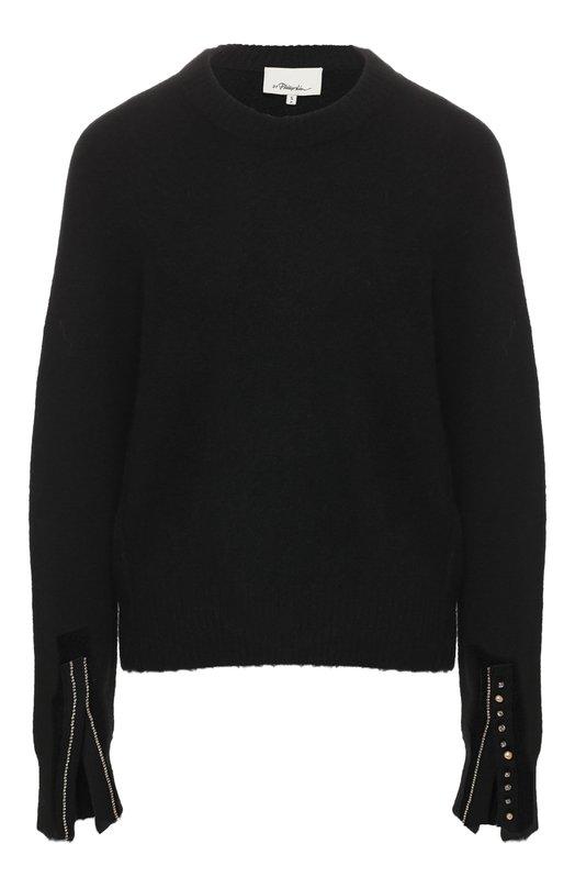 Купить Пуловер с декоративной отделкой 3.1 Phillip Lim, H181-7137LVL, Китай, Черный, Шерсть: 49%; Полиамид: 46%; Вискоза: 3%; Эластан: 2%;