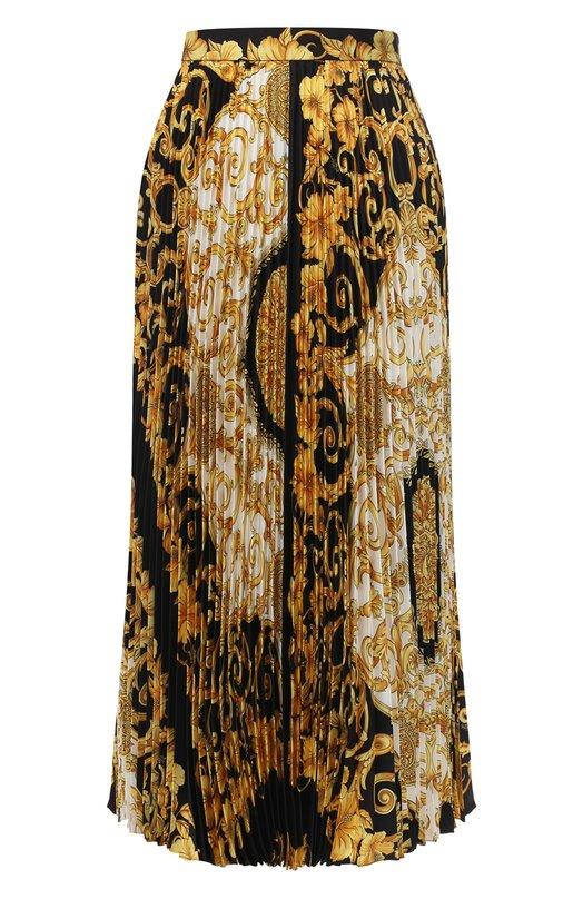 Шелковая юбка с принтом Versace Versace