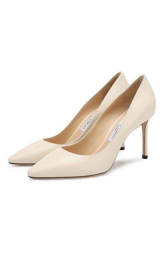 Купить Кожаные туфли Romy 85 Jimmy Choo, R0MY 85/KID, Италия, Кремовый, Кожа натуральная: 100%; Стелька-кожа: 100%; Подошва-кожа: 100%; Подкладка-кожа: 100%; Кожа: 100%; Низ-кожа: 100%;