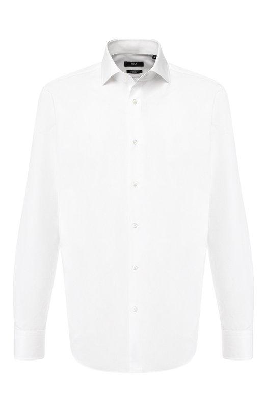 Купить Хлопковая сорочка с воротником кент BOSS, 50399972, Турция, Белый, Хлопок: 100%;