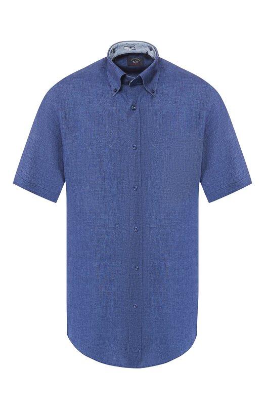 Купить Льняная рубашка с воротником button down Paul&Shark, E19P3193, Италия, Темно-синий, Лен: 100%;
