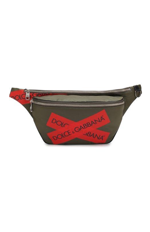 Купить Комбинированная поясная сумка Mediterraneo Dolce & Gabbana, BM1509/AK305, Италия, Хаки, Текстиль: 88%; Кожа: 12%;