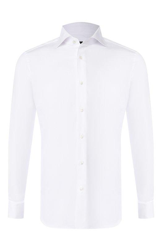 Купить Хлопковая сорочка с воротником акула Ermenegildo Zegna, 503901/9MS4BA, Турция, Белый, Хлопок: 100%;