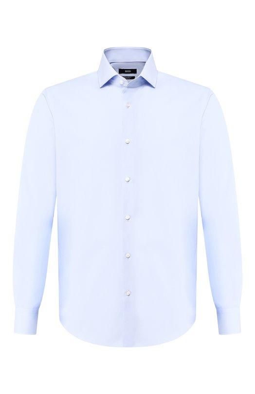 Купить Хлопковая сорочка с воротником кент BOSS, 50399972, Турция, Голубой, Хлопок: 100%;