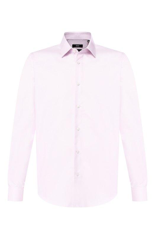 Купить Хлопковая сорочка с воротником кент BOSS, 50399349, Турция, Розовый, Хлопок: 100%;