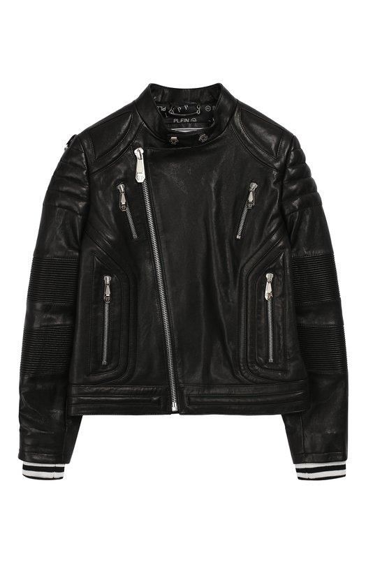 Кожаная куртка с косой молнией Philipp Plein