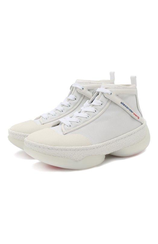 Купить Текстильные кроссовки A1 Alexander Wang, 3049N0039M, Китай, Белый, Текстиль: 77%; Кожа: 23%; Низ-кожа: 100%; Подкладка-текстиль: 100%; Подошва-резина: 100%;