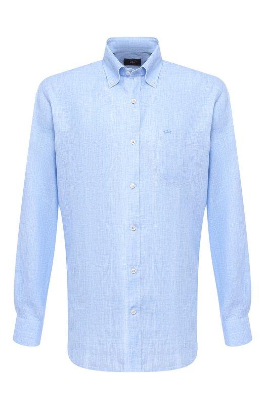 Купить Льняная рубашка с воротником button down Paul&Shark, P19P3196, Италия, Голубой, Лен: 100%;