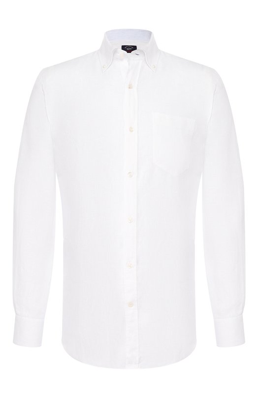 Купить Льняная рубашка с воротником button down Paul&Shark, P19P3194, Италия, Белый, Лен: 100%;