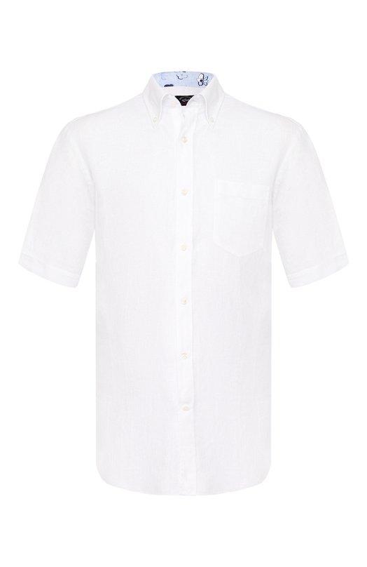 Купить Льняная рубашка с воротником button down Paul&Shark, E19P3193, Италия, Белый, Лен: 100%;