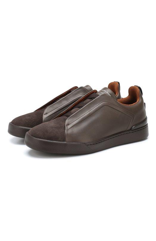 Купить Кожаные кеды Triple Stitch Zegna Couture, A2511X-MS0, Италия, Коричневый, Подкладка-текстиль: 70%; Подкладка-кожа: 30%; Кожа: 100%; Подошва-резина: 100%; Стелька-кожа: 100%;