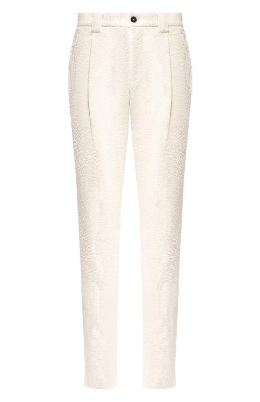 Купить Хлопковые брюки Giorgio Armani, 9SGPP06E/T0095, Италия, Кремовый, Хлопок: 97%; Эластан (Полиуретан): 3%;
