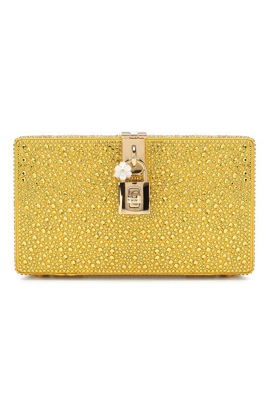 Купить Клатч Dolce Box Dolce & Gabbana, BB6246/AK040, Италия, Желтый, Отделка-стекло: 100%; Текстиль: 100%;