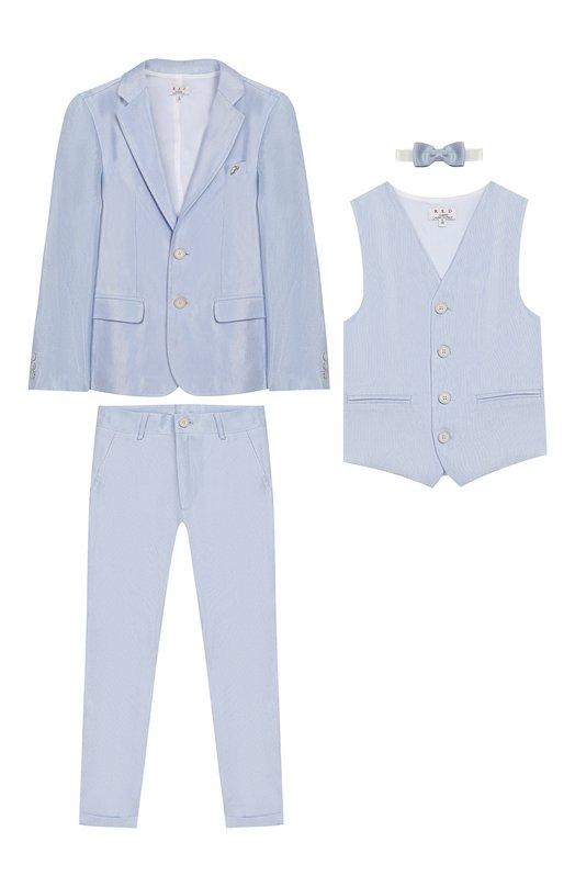 Купить Комплект из пиджака с брюками и жилета с бабочкой Aletta, NZ99128P4/4A-8A, Италия, Голубой, Лен: 59%; Вискоза: 41%;