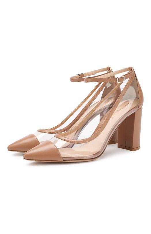 Купить Комбинированные туфли Shannon 85 Gianvito Rossi, G21692.85RIC.VPLPRTR, Италия, Бежевый, Кожа: 60%; Полимер: 40%; Стелька-кожа: 100%; Подошва-кожа: 100%; Подкладка-кожа: 100%;