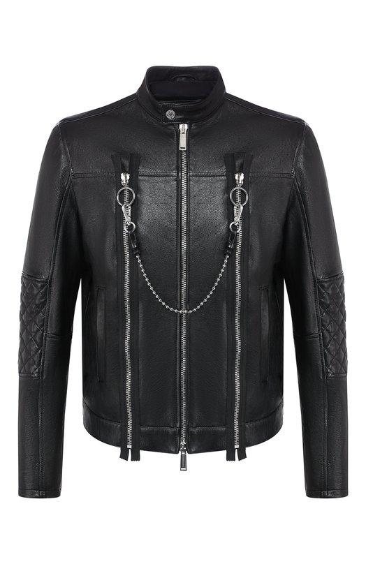 Купить Кожаная куртка Dsquared2, S74AM0892/SY1343, Румыния, Черный, Подкладка-полиэстер: 100%; Кожа: 100%;
