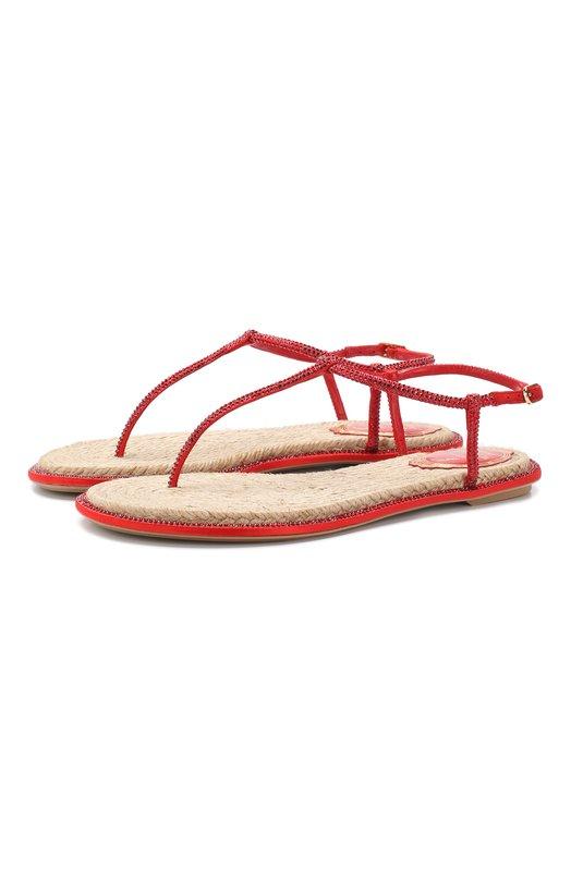 Купить Кожаные сандалии Diana Rene Caovilla, C08932-010-R001V126, Италия, Красный, Текстиль: 80%; Кожа: 20%; Низ-текстиль: 100%; Подошва-резина: 100%; без подкладки: 100%;