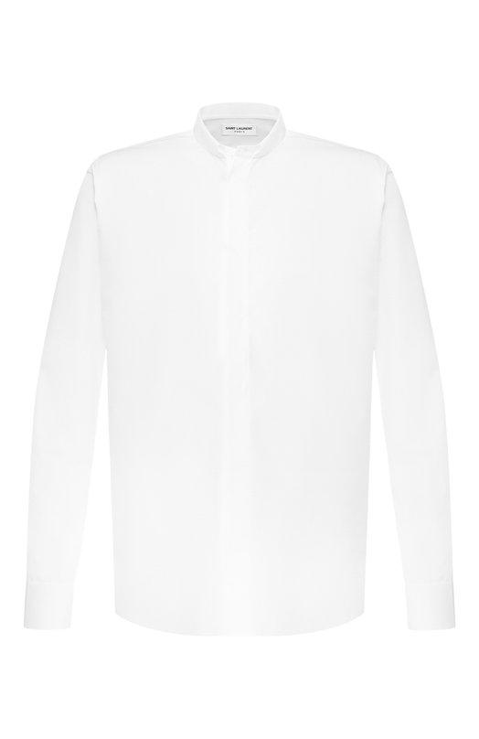 Купить Хлопковая рубашка с воротником мандарин Saint Laurent, 467312/Y216W, Италия, Белый, Хлопок: 100%;
