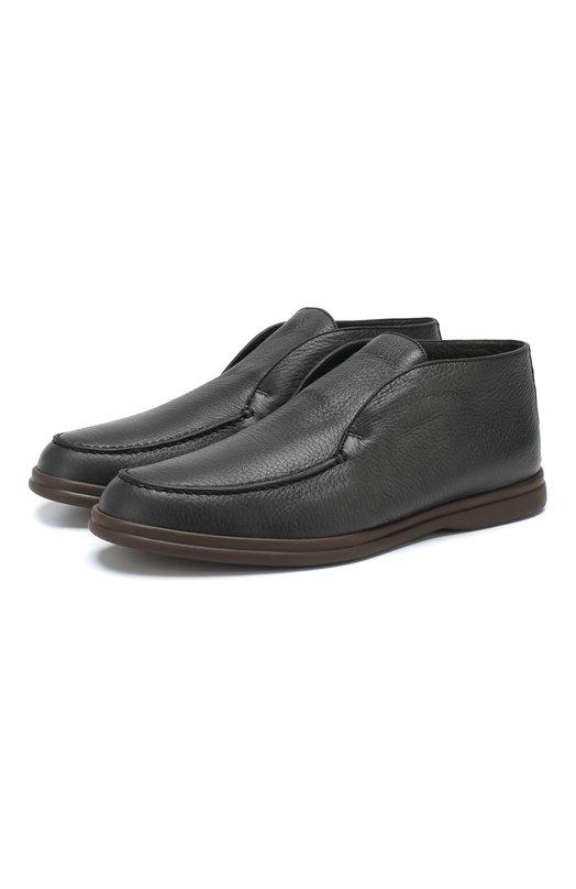 Купить Кожаные ботинки Open Walk с внутренней меховой отделкой Loro Piana, FAI5538, Италия, Темно-синий, Подошва-резина: 100%; Подкладка-мех/бобер/: 100%; Кожа: 100%; Стелька-мех/бобер/: 100%;