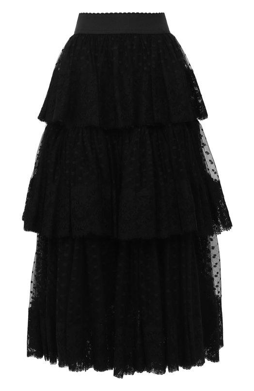 Купить Многослойная юбка-миди Dolce & Gabbana, F4A6XT/FLMJT, Италия, Черный, Полиамид: 71%; Хлопок: 29%;