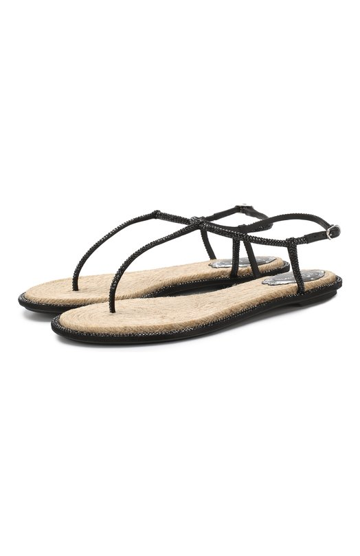 Купить Кожаные сандалии Diana Rene Caovilla, C08932-010-R001V050, Италия, Черный, Текстиль: 80%; Кожа: 20%; Низ-текстиль: 100%; Подошва-резина: 100%; без подкладки: 100%;