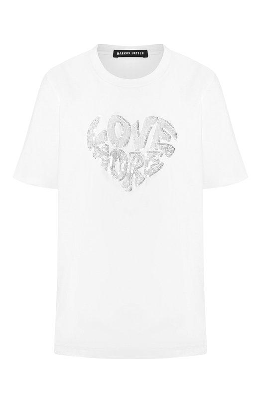 Купить Хлопковая футболка Markus Lupfer, TEE156, Индия, Белый, Хлопок: 100%;
